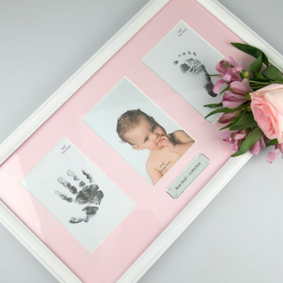 Personalised Engraved Pink Baby Girl triple Photo Frame