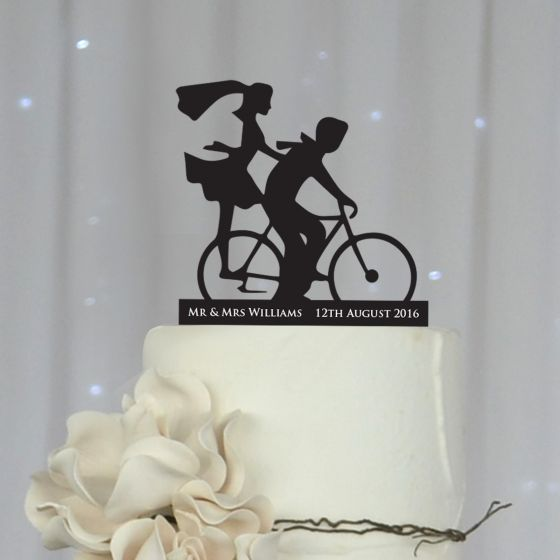 Laser cut and engraved Bicycle Silhouette Black Acrylic Wedding Reception Cake Topper