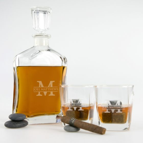 personalised Engraved Birthday decanter and matching scotch glasses Present