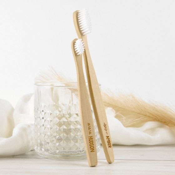 Personalised Engraved Name Wooden Natural Bamboo Tooth Brush Christmas Present