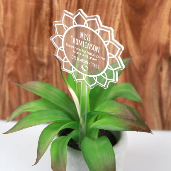 Personalised Engraved Teacher Clear Acrylic Planter Stick Christmas Present