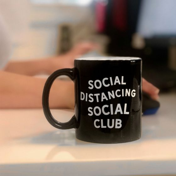 Engraved Social Distancing Social Club Black Coffee Mug Present Gift