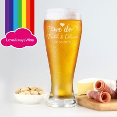 Personalised Engraved Same Sex Wedding 425ml Beer Glass Wedding Favour