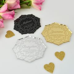 Personalised Engraved Elegant Acrylic Flower Wedding Place card with guest name