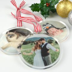 Photo Colour Printed Acrylic Christmas Bauble Decoration Nana, Mum Present