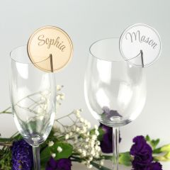 Round Acrylic Placecards for Glassware