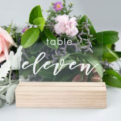 Engraved Clear Acrylic Table Number with Wooden Base