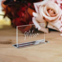 Engraved Personalised clear acrylic rectangle placecard with silver base