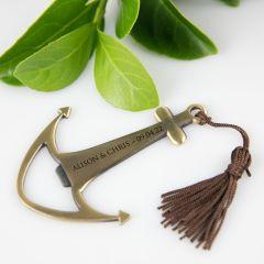 Laser engraved anchor bottle opener for wedding favour