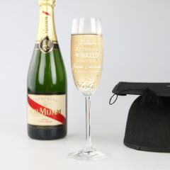 Personalised Engraved Graduation Champagne Glass Present