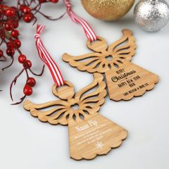 Personalised Engraved White & Black Printed Christmas Angel Tree Decoration Present