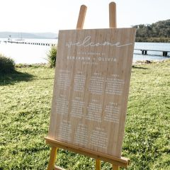 Personalised White Printed Bamboo Wedding Rustic Seating Chart Sign