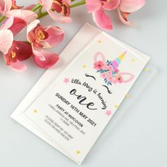 Personalised Colour Printed Clear Acrylic Girl's Birthday Invitation