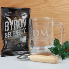 Personalised Engraved Christmas Beer Stein and Wooden Bottle Opener and Beef Jerky Christmas Hamper present