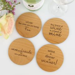 Personalised Engraved Birthday Wooden Coaster Set Present