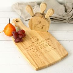 Personalised Engraved Birthday Paddle Board and Cheese Block Set Present