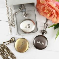Personalised Engraved Monogrammed gold, silver and black Pocket Watch Birthday Present