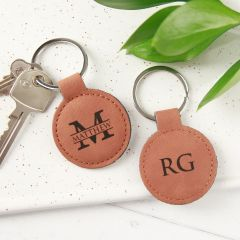 Personalised Engraved Tan Leatherette Monogrammed Name Birthday Keyring Present