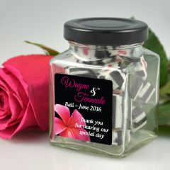 Personalised Colour Printed sticker labels on wedding favour square lolly jars