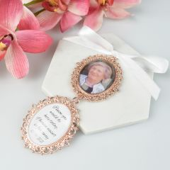 Double Oval Wedding Bouquet Charm for wedding flowers with photo and message of love ones past for wedding day