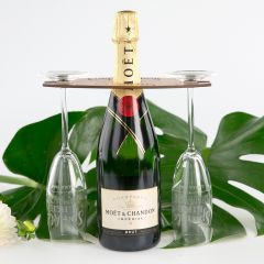 Personalised Engraved Wooden Corporate Champagne Butler Set with Two Champagne Glasses Client Gift