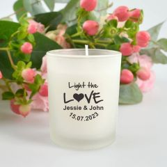 """Personalised Black Printed """"Light the Love"""" Wedding Candle Favour"""