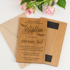 Personalised Engraved 11B Engraved Wooden Christening Invitations