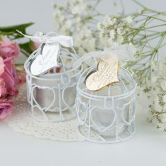 Birdcage Tealight Holder with Personalised Engraved Silver & Gold Acrylic Christening heart Gift Tag Favours