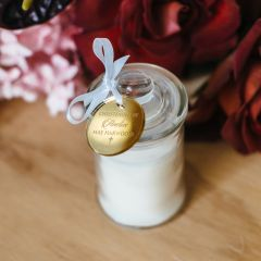 Christening Candle Favour Gift with Personalised Round Gold Engraved Gift Tag