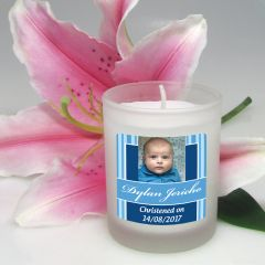 Personalised Colour Printed Frosted Glass Votive Baby Boy Christening Candle Sticker