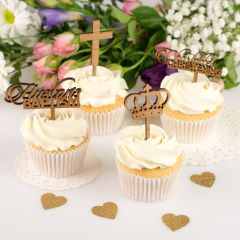 Personalised Laser Cut Wooden Baby Baptism Cupcake Toppers