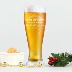 Personalised Engraved Corporate Christmas Schooner Beer Glasses Client Present