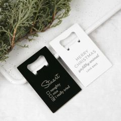 Personalised Engraved Black and White Christmas Credit Card Bottle Opener
