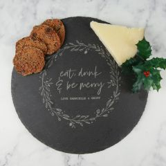 Personalised Engraved Round Secret Santa Christmas Slate Chopping Cheese Serving Board Present