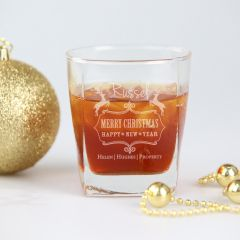 Personalised Engraved Corporate Christmas Scotch Glass Client Present