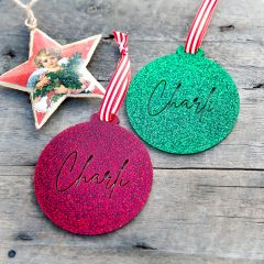 Personalised Laser Cut Glitter Acrylic Christmas Tree Bauble Decoration