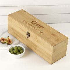 Personalised Engraved Corporate Bamboo Wine Box with Tool Set Company or Client Promotional Gift