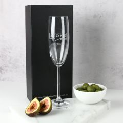 Personalised Engraved Corporate Logo 195ml Champagne Glass Black Gift Box Company or Client Gift