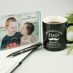 Personalised Engraved Corporate Dad Hamper- Coffee Mug, Acrylic photo frame and pen