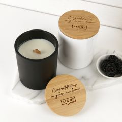 Personalised Engraved Corporate Wood Wick Soy Candle with Wooden Lid Company or Client Gift