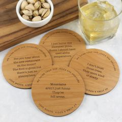 "Personalised Engraved Set of 4 Father's Day ""Dad's Bad Jokes"" Wooden Coaster Present"
