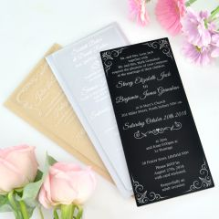 Personalised Laser Cut & Engraved clear, frosted & black wedding invites