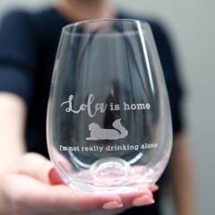 Personalised Engraved Funny, Inappropriate, Humorous Cat Lover Stemless Wine Glass Birthday, Christmas, Barware Present