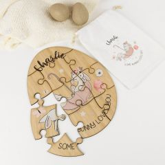 Personalised Laser Cut Printed Wooden Easter Egg Puzzle Present and Calico Bag