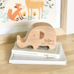 Personalised Engraved Wooden Elephant money box Present