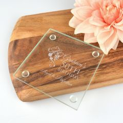 Engraved Personalised 50th Birthday Glass Coaster Present