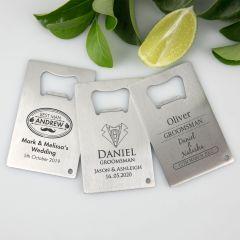 Personalised Engraved Groom, Best Man, Groomsman Credit Card Bottle Opener Favour