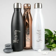 Personalised Laser Engraved Metal Water Bottles with Name