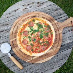 Personalised Engraved Acacia Wood Pizza Board with Pizza Wheel Cutter Birthday Present