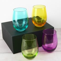 Personalised Engraved yellow, purple, blue, green Stemless Wine glasses in black presentation Box